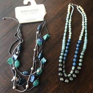 NWT Two Blue and Green Necklaces